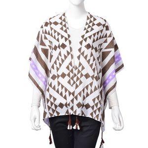Accessories - Brown and Purple Cotton Santa Fe Pattern Kimono
